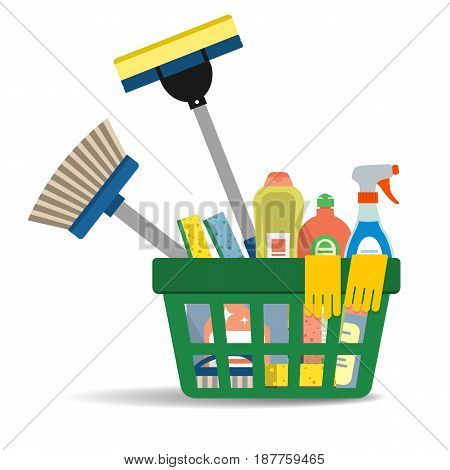 Household cleaning products and accessories in the green basket. There is a mop, detergents, rubber gloves, a glass cleaner, sponges and other objects in the picture. Vector illustration.