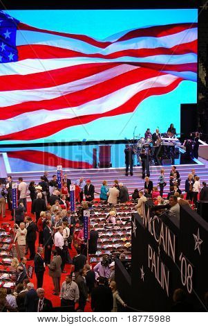 ST PAUL - SEPT 3: Delegates gather inside the Republican National Convention at the Xcel Energy Center prior to nominating Sarah Palin as McCain's VP choice on September 3, 2008 in St Paul.