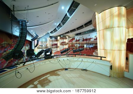 MOSCOW - OCT 25, 2016: Balcony in Moscow State Music Theatre of Russian folk song concert hall in Diamond hall business center