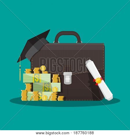Business briefcase, graduation cap, money stacks and rolled diploma. Business graduation concept. Vector illustration in flat style