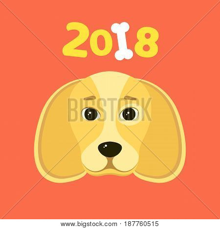 Happy New Year 2018. The year of the yellow earth dog. Beautiful figures on a red background. White bone. The falling shadow. Vector illustration in a flat style