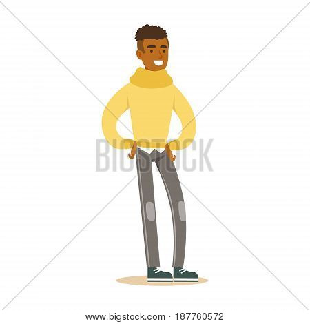 Cheerful casual young African man standing. Colorful cartoon character vector Illustration isolated on a white background