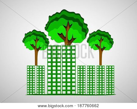 illustration of green trees and buildings on white background