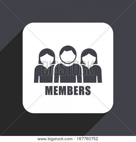 Members flat design web icon isolated on gray background