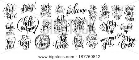 set of 25 hand written lettering to pregnancy and little baby born photography family overlay for postcard, poster and photo album element, calligraphy vector illustration collection