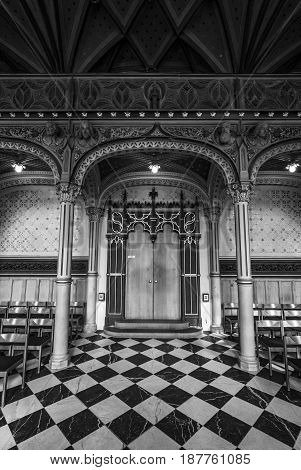 STUTTGART GERMANY - MARCH 01 2017: Interior of castle church of the Old Castle (10th century). Black and white. Stuttgart is the capital and largest city of the state of Baden-Wuerttemberg.