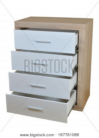 Chest of four open drawers made of wooden materials isolated on white