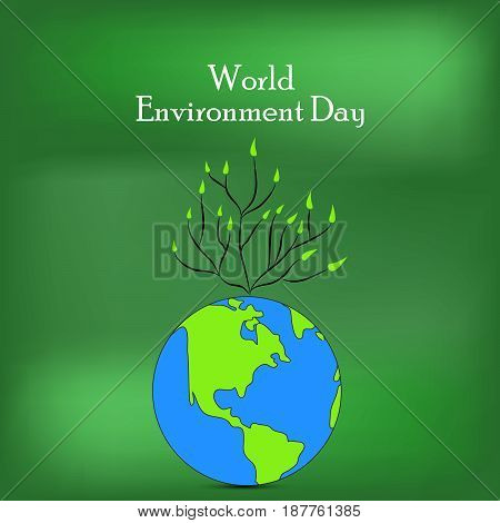 illustration of Plants on earth with world environment day text