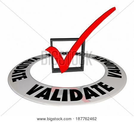Validate Check Mark Box Confirm Verify Approve 3d Illustration