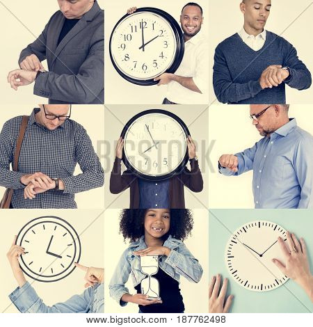 Set of Diverse People With Time Management Studio Collage