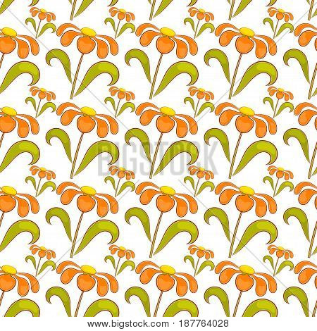Seamless pattern with wildflowers. Abstract bright background.
