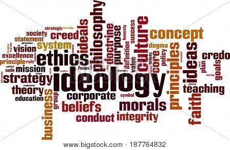 Ideology word cloud concept. Vector illustration on white