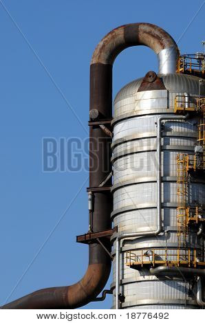 Closeup of a distillation tower at a petrochemical plant