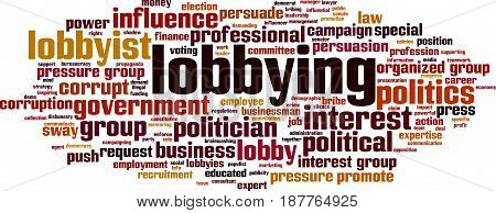Lobbying word cloud concept. Vector illustration on white