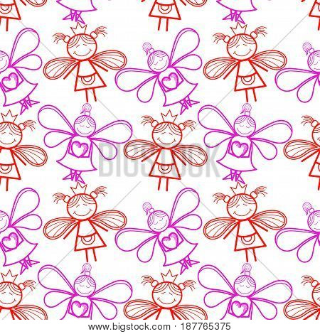 Seamless pattern with little fairies, a light background.