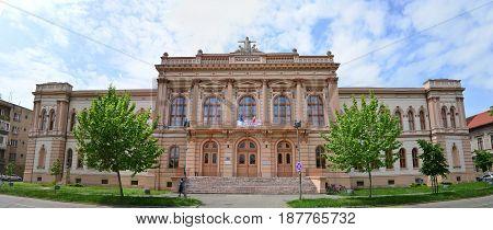 ARAD ROMANIA - 05.09.2017: Moise Nicoara highschool landmark architecture