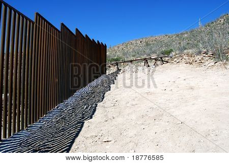 End of border fence between the US and Mexico a few miles west of the border crossing in Sasabe, Arizona
