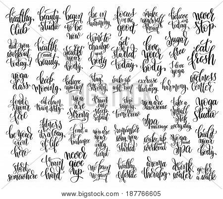 set of 50 hand lettering inscriptions about fitness to motivation quotes posters, black and white inspirational text, calligraphy vector illustration collection