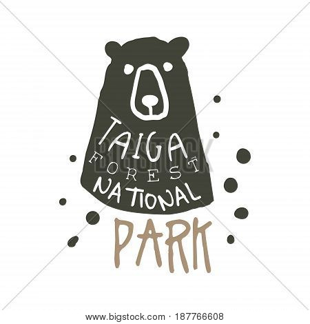 Taiga forest national park design template, hand drawn vector Illustration isolated on a white background