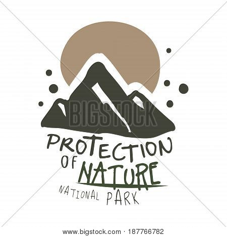 Protection of nature national park design template, hand drawn vector Illustration isolated on a white background