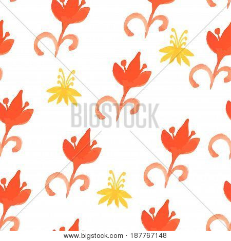 Tribal red seamless pattern with trees.Seamless Floral Pattern. Watercolor graphic for backgrounds papers and fabrics. Vector illustration