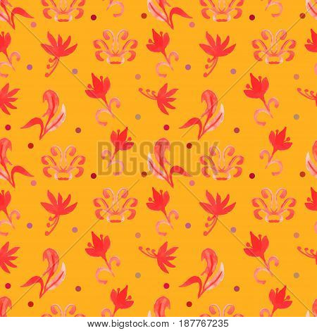 Orange Retro seamless pattern with trees.Seamless Floral Pattern. Watercolor graphic for backgrounds papers and fabrics. Vector illustration
