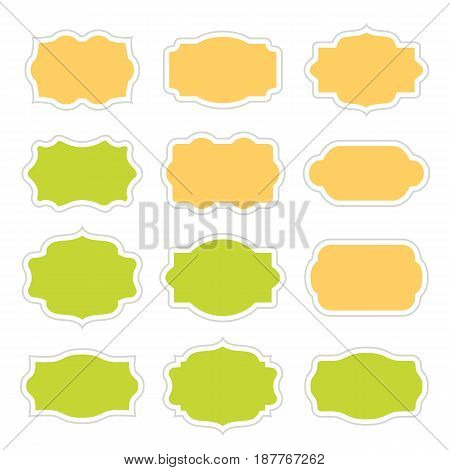Set of vintage stickers border in frame for messages. Vector illustration