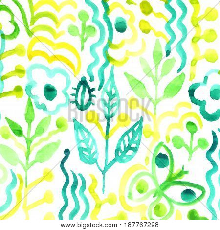 Watercolor pattern with flowers and plants. Floral tribal pattern. Vector illustration