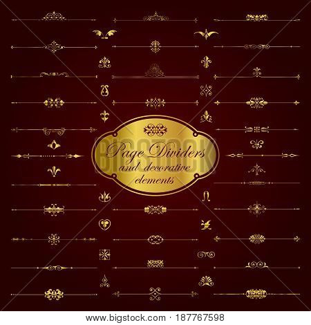 Golden page dividers and ornamental elements - vector set