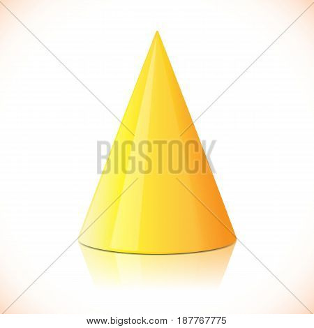 Geometry colorful glossy cone isolated on white. Vector illustration