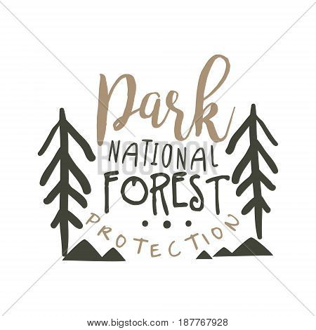 National park forest protection design template, hand drawn vector Illustration isolated on a white background