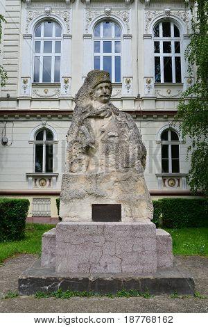 ARAD ROMANIA - 05.09.2017: Avram Iancu statue landmark monument architecture