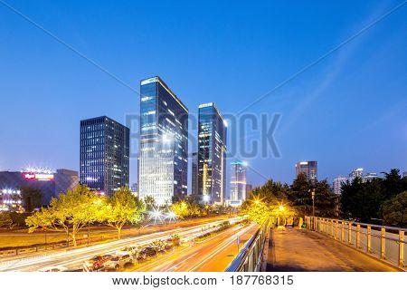 modern office buildings and road in hangzhou qiangjiang new city