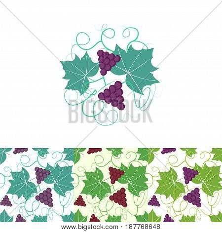 Grape circle logo and seamless pattern. Stock vector illustration for wine production and restaurant brand.