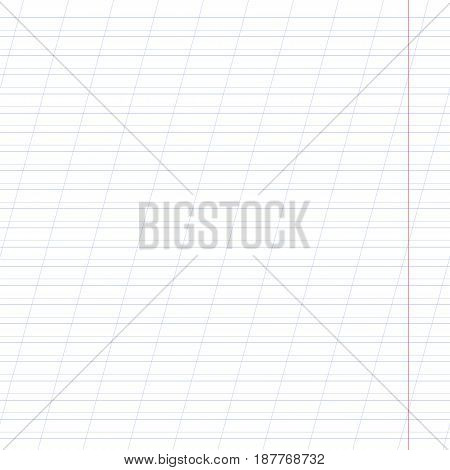 Notebook paper oblique line with fields. Vector illustration