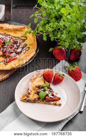Pancake In Oven, Dutch Baby Pancake With Strawberries
