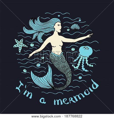 Mermaid Hand Drawn