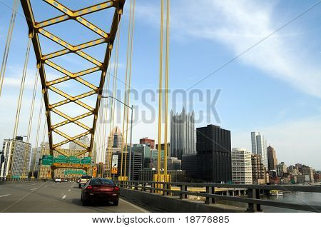 PITTSBURGH - FEB 11: Alcoa's massive layoffs are clouding the economic prospects of Pittsburgh, Pennsylvania, seen from Fort Pitt bridge on February 11, 2009.