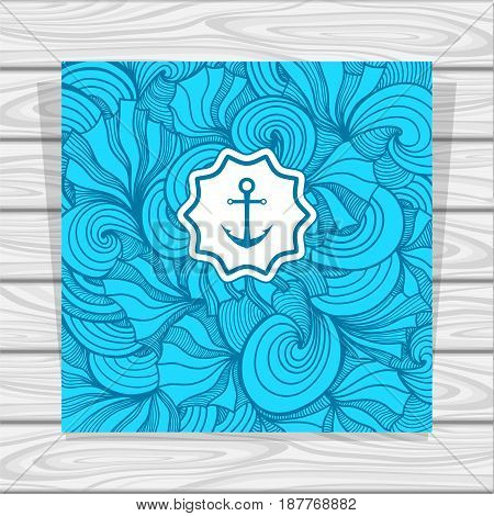Template Abstract summer Zen-doodle background with anchor in blue for decoration marine or summer flyers menu or banners