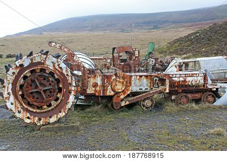 Derelict mining machinery at Blaenavon in Wales