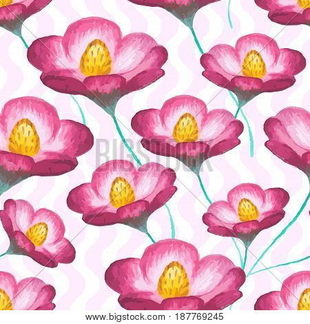 Vector seamless floral pattern with cosmos flowers (pink asters). Stylish illustration with blooming plants on wavy background. Design element for prints, decor, fabric, textile, cloth