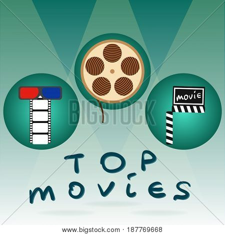 Abstract concept title top movies background for your business and website. Vector illustration