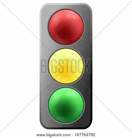 Realistic cartoon traffic lights icon isolated on white. Vector Illustration