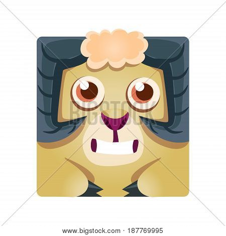 Cute geometric ram animal, colorful cartoon character vector Illustration isolated on a white background