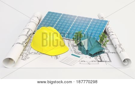 Projects for ecological house with solar panels, 3d render illustration
