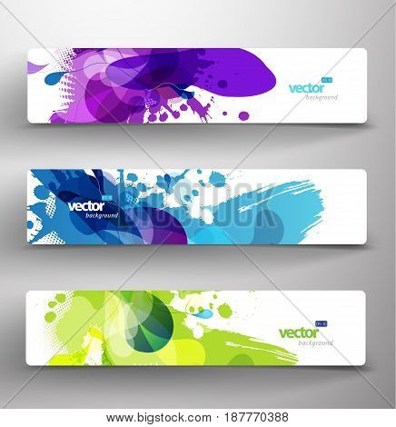 Set of three abstract colorful headers. Vector art