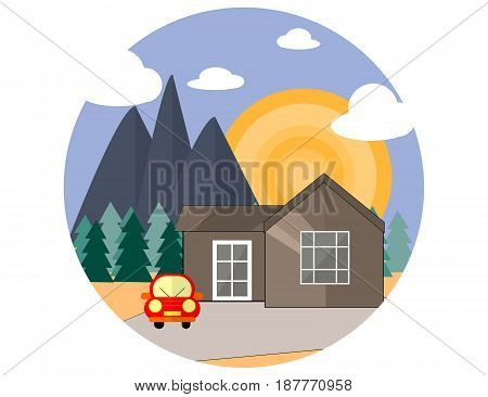 Mountain Side Summer Landscape With House Woods an Red Car in Flat Design. Vector Illustration.