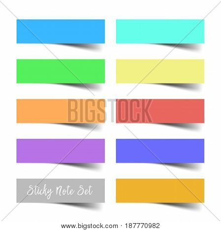 Set of colorful vector sticky notes with shadows. Vector eps10