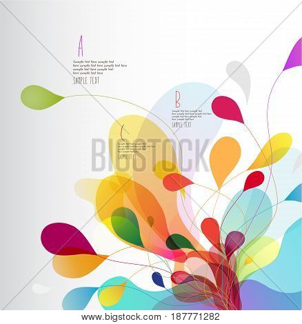 Abstract colored background with leafs. Vector art