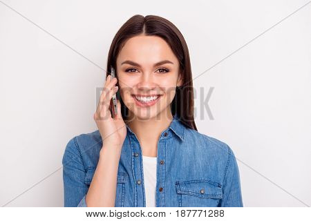 Close Up Portrait Of Happy Smiling Woman In Blue Jeans Shirt Talking On Phone With Her Best Friend